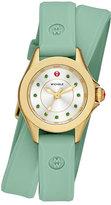 Michele Cape Mini Topaz Watch w/ Double-Wrap Silicone Strap, Green