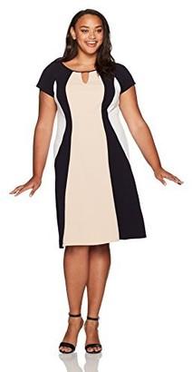 Sandra Darren Women's Plus Size Cap Sleeve Color Block Fit & Flare Knit Dress