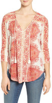 Lucky Brand Placed Print V-Neck Blouse