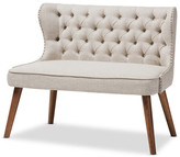 Baxton Studio Scarlett Upholstered Accent Chair With Tuffting, 2-Seater, Light Beige