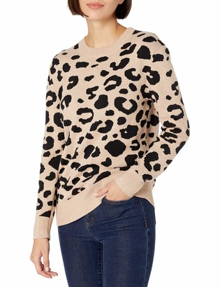 Daily Ritual Women's Standard Ultra-Soft Leopard Jacquard Crewneck Pullover Sweater Camel Print XX-Large