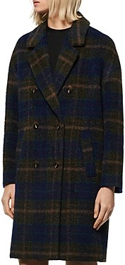Andrew Marc Plaid Double-Breasted Coat