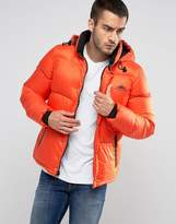 Penfield Equinox Down Quilted Jacket Detachable Hood In Orange