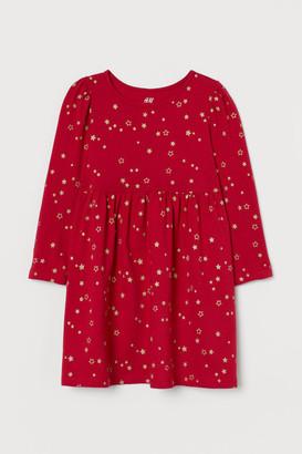 H&M Glittery Jersey Dress - Red