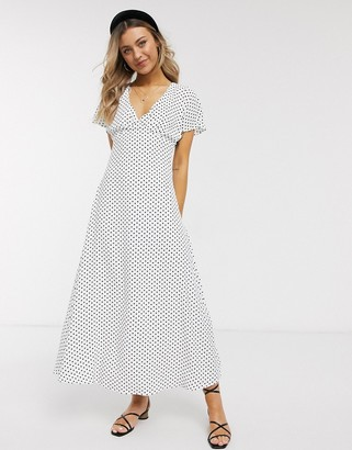 Brave Soul helen maxi dress in spot with fluted sleeves