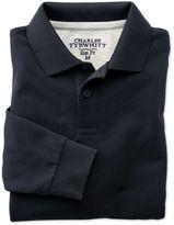 Charles Tyrwhitt Slim Fit Navy Pique Long Sleeve Cotton Polo Size Medium