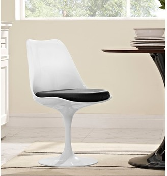 Bsd National Supplies Venice Tulip Style Swivel Dining Chair with Black Vinyl Cushioned Seat
