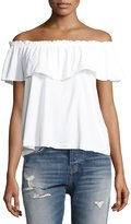 Current/Elliott The Ruffle Off-the-Shoulder Top, White