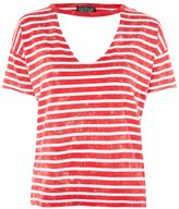 Topshop PETITE Acid Stripe Choker Neck T-Shirt