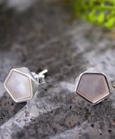 Lotus Fun Women's Earrings Silver - Pink Shell & Sterling Silver Pentagon Stud Earrings
