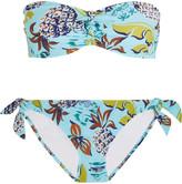 Anna Sui Printed Knot-front Bandeau Bikini - Sky blue