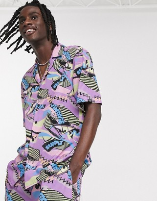 Vintage Supply print revere co-ord shirt in retro print in purple