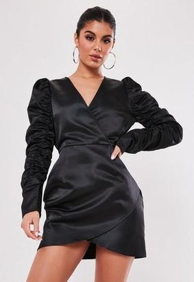 Missguided Petite Black Puff Sleeve Wrap Front Mini Dress