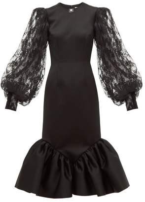 Christopher Kane Cupcake Lace Sleeve Satin Midi Dress - Womens - Black