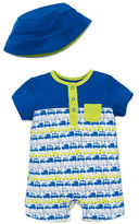 Offspring Baby Boys Car Print Shortall and Hat Set