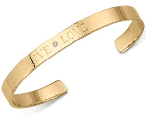 """Sarah Chloe Diamond Accent """"Live Love"""" Cuff Bangle Bracelet in 14kt Gold Over Silver (also available in Sterling Silver)"""