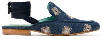 Blue Bird Shoes Mirror Embellished Denim Slippers