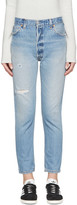 RE/DONE Blue Distressed High Rise Ankle Crop Jeans