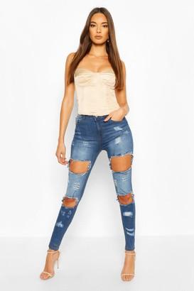 boohoo Distressed High Waist Skinny Jean