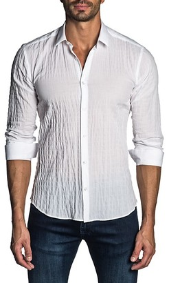 Jared Lang Semi-Fit Textured Seersucker Shirt