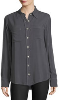 Allen Allen Two-Pocket Button-Front Boyfriend Shirt