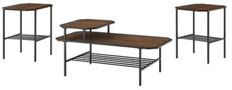 Walker Edison Dorothy Vetti 3 Piece Coffee Table Set Table Top Color: Dark Walnut