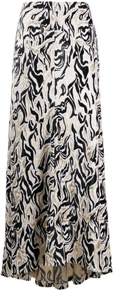 Paco Rabanne Animal Print Maxi Skirt