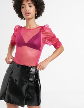 Monki puff sleeve organza blouse in fuchsia pink