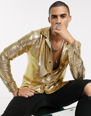 One Above Another long sleeve party shirt in gold metallic