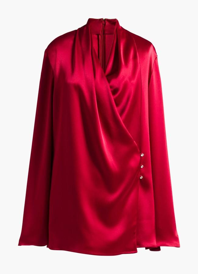 St. John Satin Cowl Neck Wrap Blouse