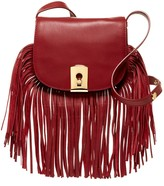 Botkier Clinton Leather Fringe Trim Saddle Crossbody