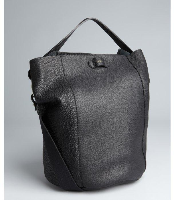 Furla black pebbled leather 'Taormina' shoulder bag