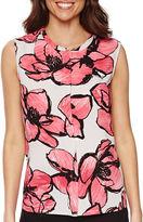 Liz Claiborne Sleeveless Floral Peplum Blouse - Tall