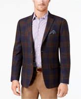 Tallia Men's Big & Tall Slim-Fit Navy/Green/Red Tartan Soft Wool Sport Coat