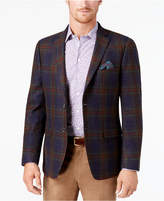 Tallia Men's Slim-Fit Navy/Green/Red Tartan Soft Wool Sport Coat
