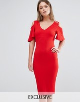 Club L Midi Dress With Cold Shoulder Frill Detail