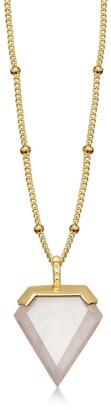 Missoma Rose Quartz Gold Shield Necklace