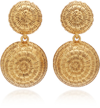 Oscar de la Renta Gold-Tone Dome Clip-On Drop Earrings