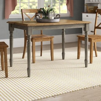 Three Posts Dannie Rubberwood Solid Wood Dining Table Base Color: Gray