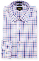 Neiman Marcus Luxury Tech Classic-Fit Plaid-Print Dress Shirt, Pink