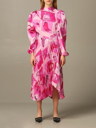 Balenciaga Printed And Pleated Midi Dress