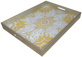 Large Reverse Hand Painted Mirror Glass Tray in Yellow