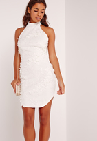 Missguided Floral Applique Lace High Neck Bodycon Dress White