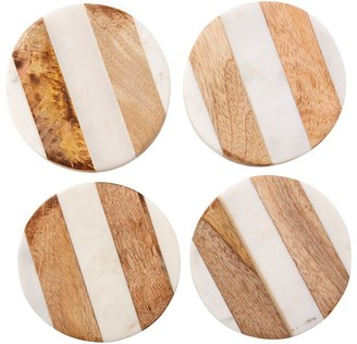 Indigo White Marble and Wood Coasters Set of 4