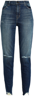 J Brand Distressed Faded High-rise Slim-leg Jeans