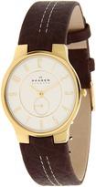 Skagen 433LGL1 Leather Watch (Brown/White) - Jewelry