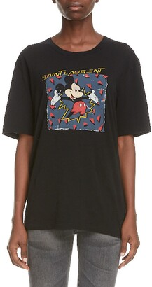 Saint Laurent Mickey Mouse Logo Graphic Tee