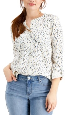 Style&Co. Style & Co Dot-Print 3/4-Sleeve Textured Top, Created for Macy's