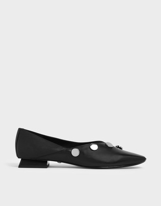 Charles & Keith Chrome Button Detail Leather Flats