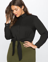 ELOQUII Plus Size Tie Waist Button Down Shirt